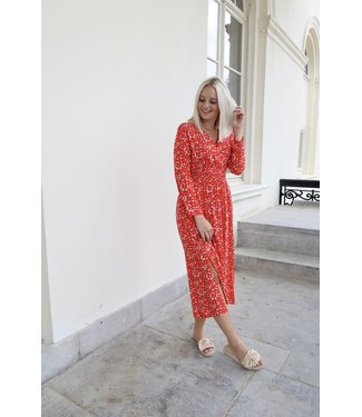 Lucy flower dress - red