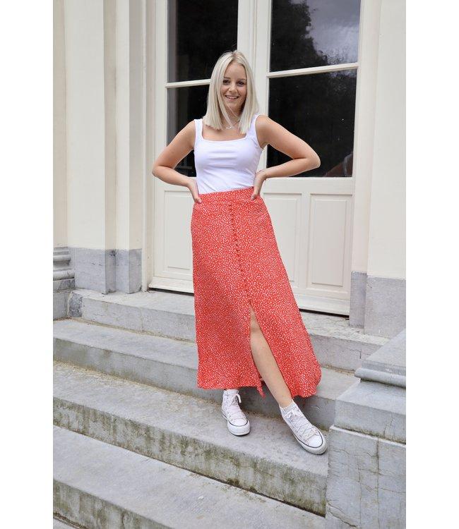 Dots split skirt - red