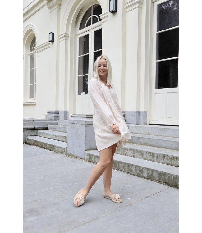 Cotton smock dress - nude