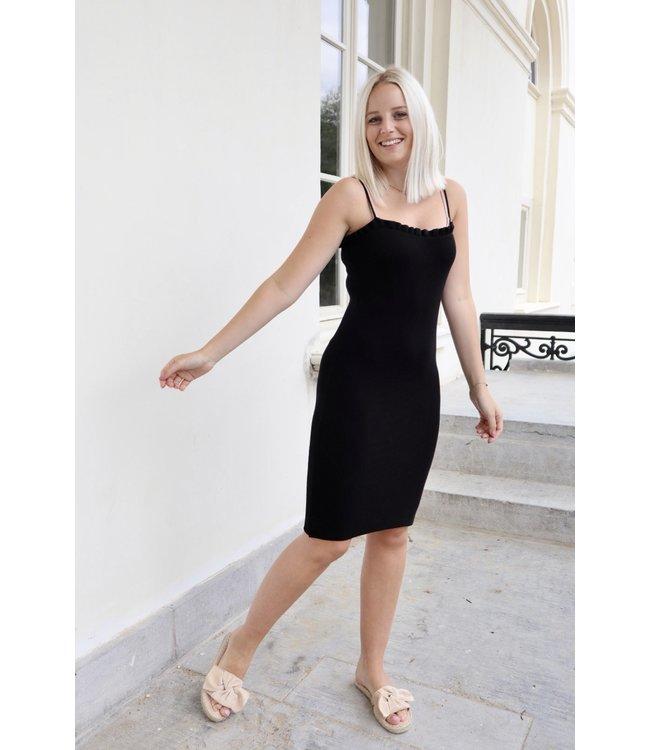 Silhouette ruches dress - black