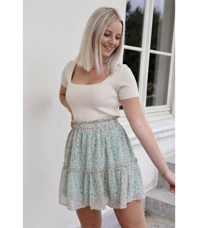 Floral skirt - green