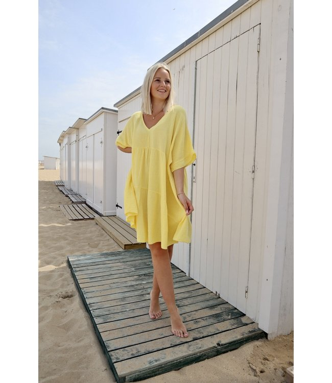 Tetra smock dress - yellow