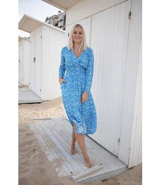 Lucy flower dress - azure blue