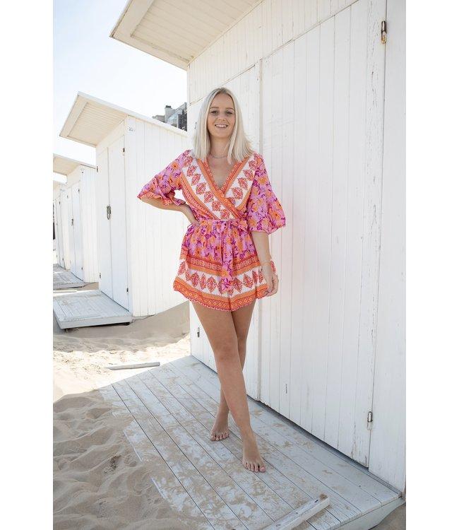 Lauren playsuit - pink/orange