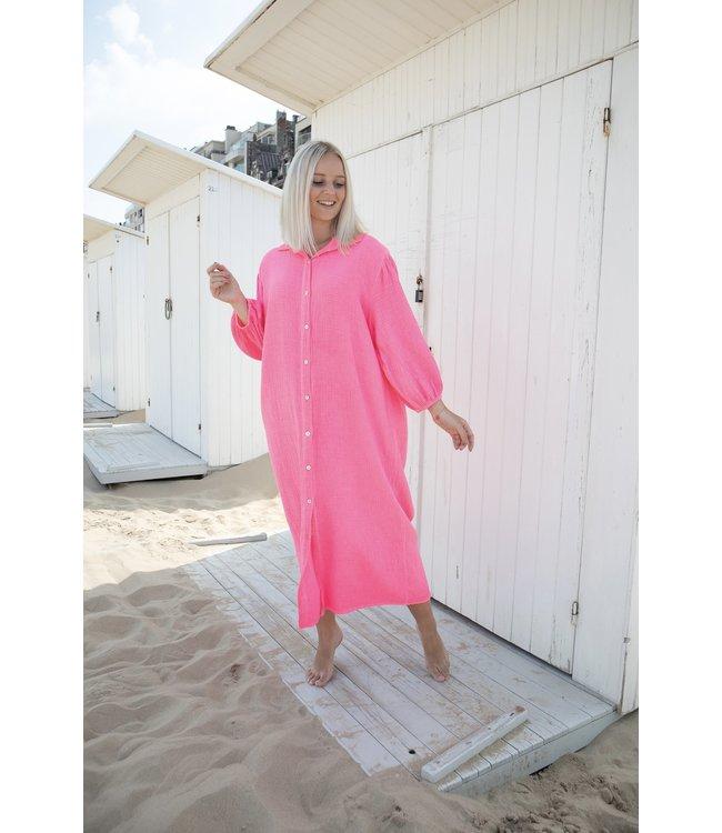Isa button tetra dress - neon pink