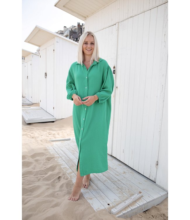 Isa button tetra dress - green