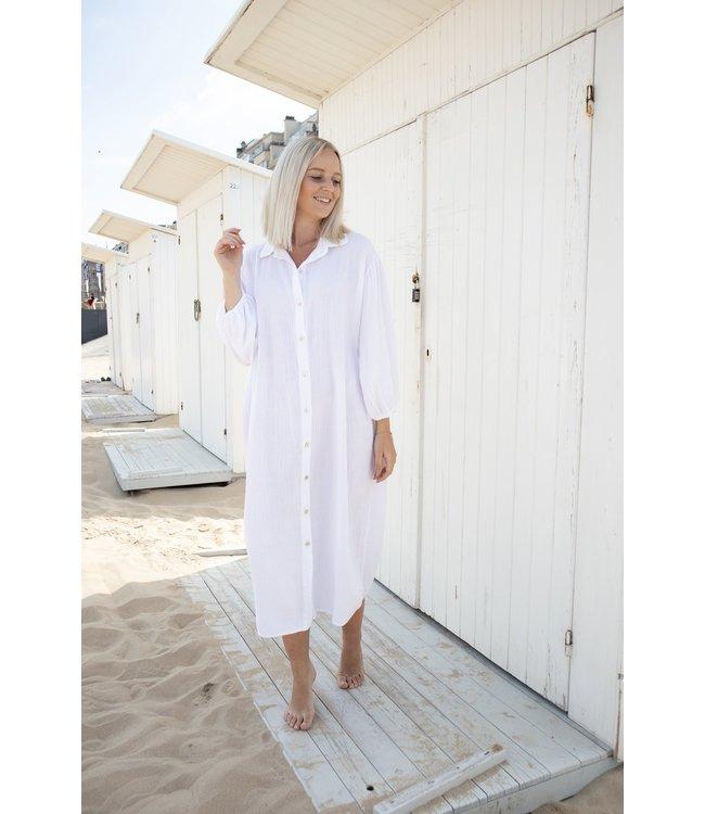 Isa button tetra dress - white