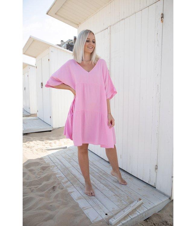 Tetra smock dress - pink