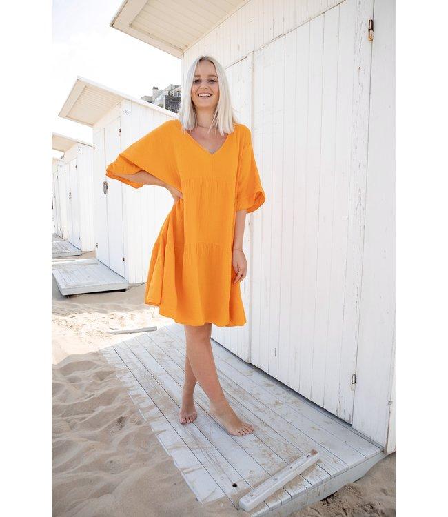 Tetra smock dress - orange