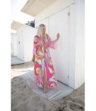 Multi maxi print dress - pink