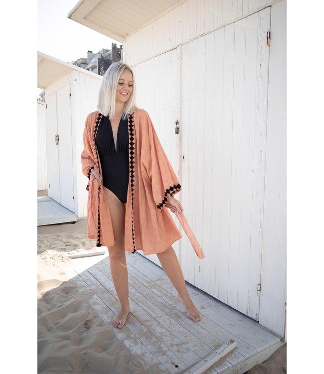 Boho kimono maroon/black