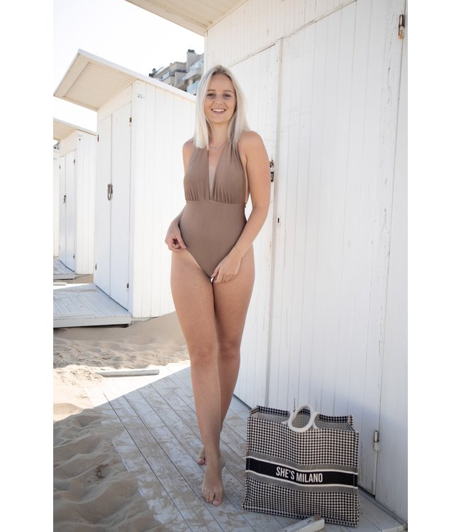 Triangle swimsuit - taupe