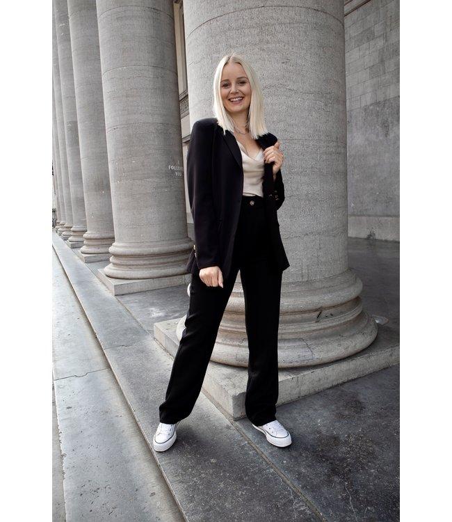 Isa suit WIDE trouser - black
