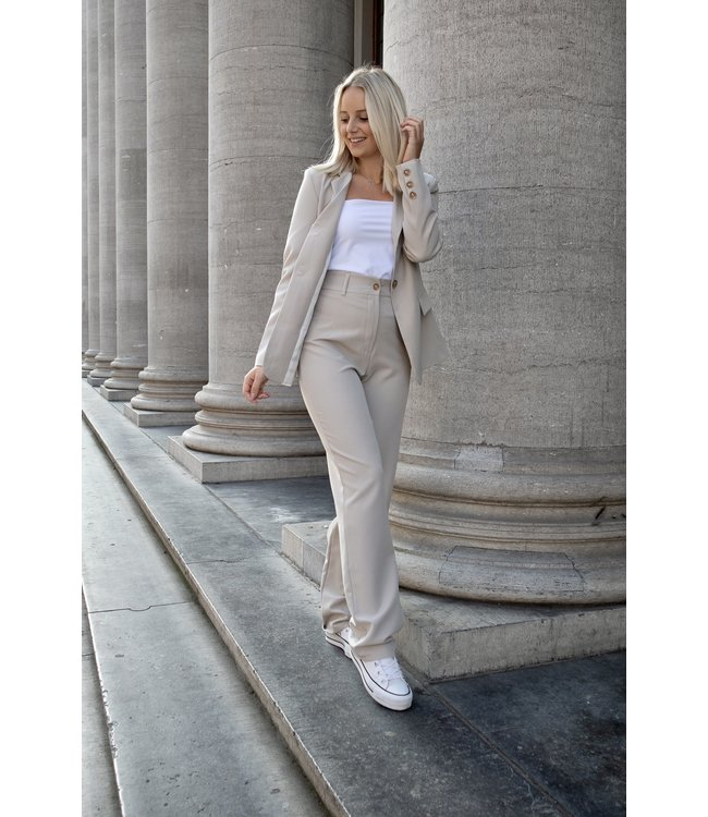 Isa suit WIDE trouser - taupe