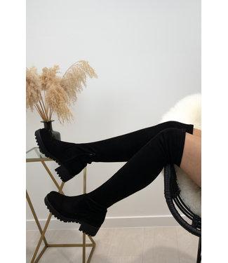 Suede overknee boots - black