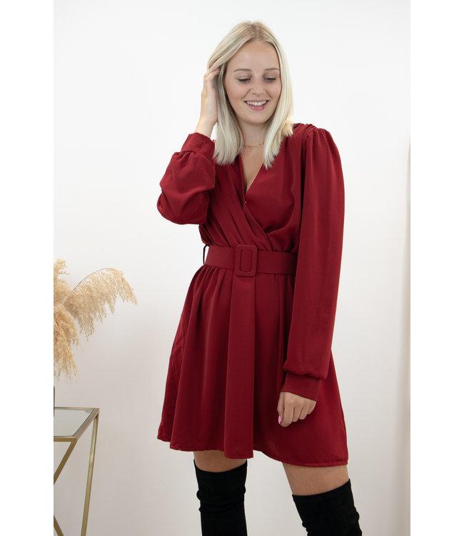 Kiki belt dress - bordeaux