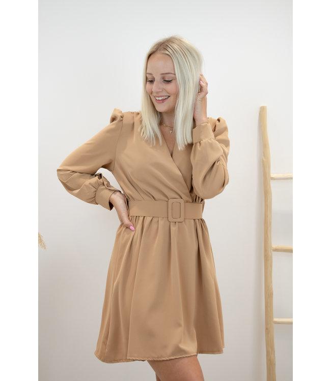 Kiki belt dress - camel