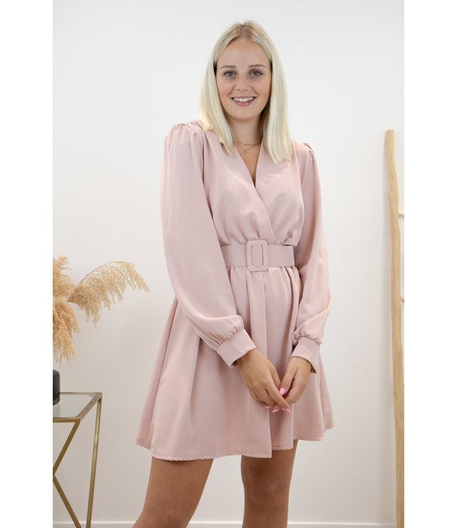 Kiki belt dress - soft pink