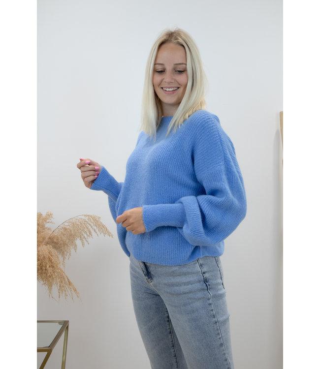 Lia round sweater - sky blue