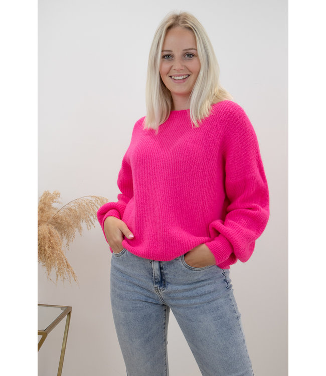 Lia round sweater - fuscia