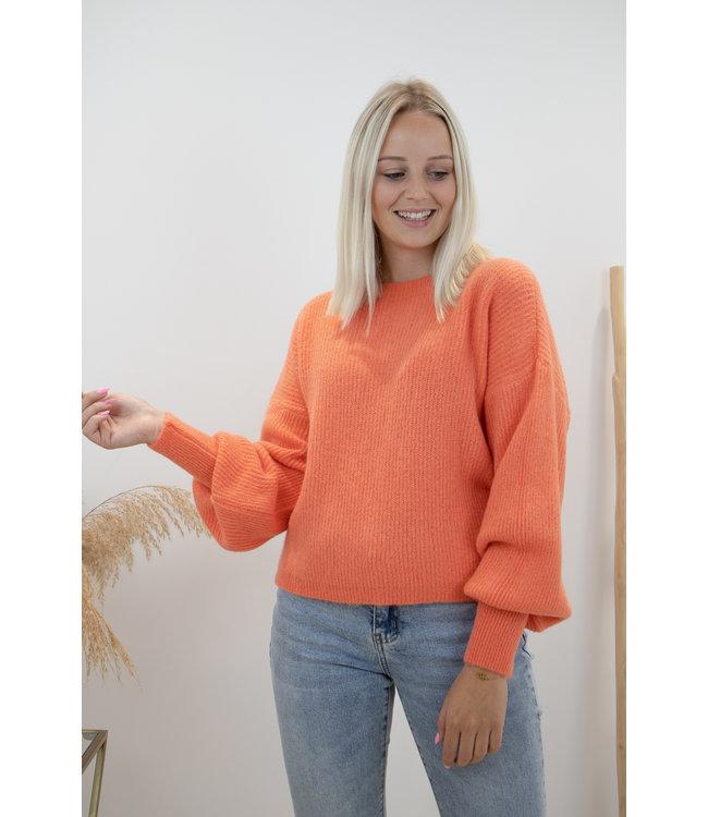 Lia round sweater - orange
