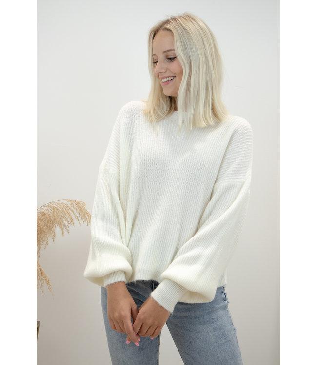 Lia round sweater - ecru