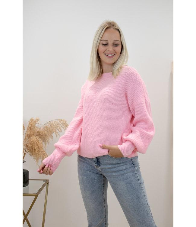 Lia round sweater - pink