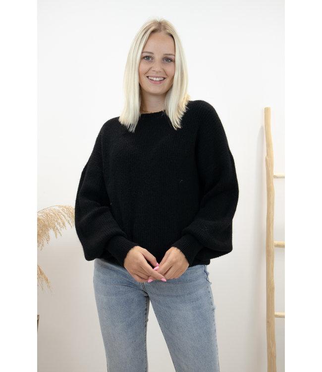 Lia round sweater - black