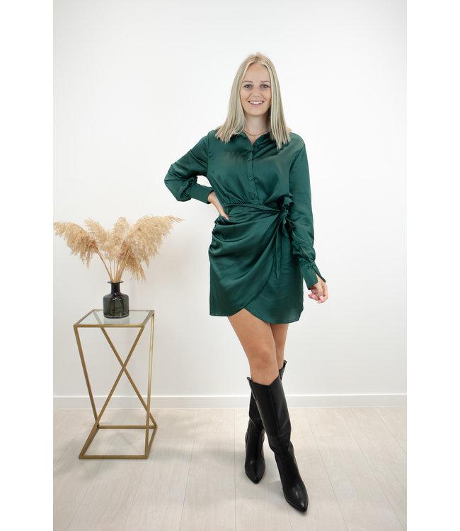 Silky wrap dress - classy green