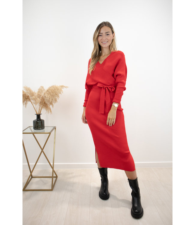 Norie silhouette dress - red