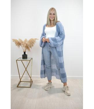 STRIPE Long knitted gilet - grey/blue