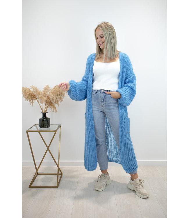 Long knitted gilet - steel blue