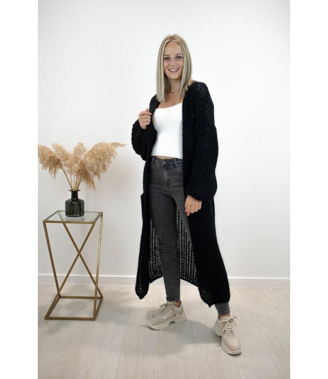 Long knitted gilet - black