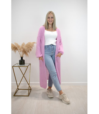 Long knitted gilet - dusty pink
