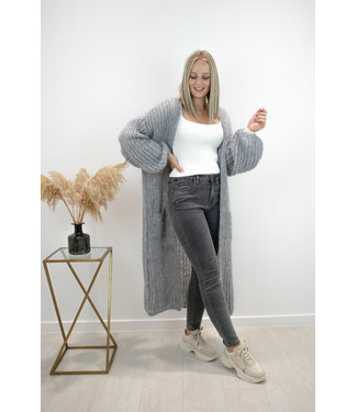 Long knitted gilet - marble grey