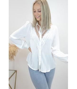 Mae cotton lace blouse - white