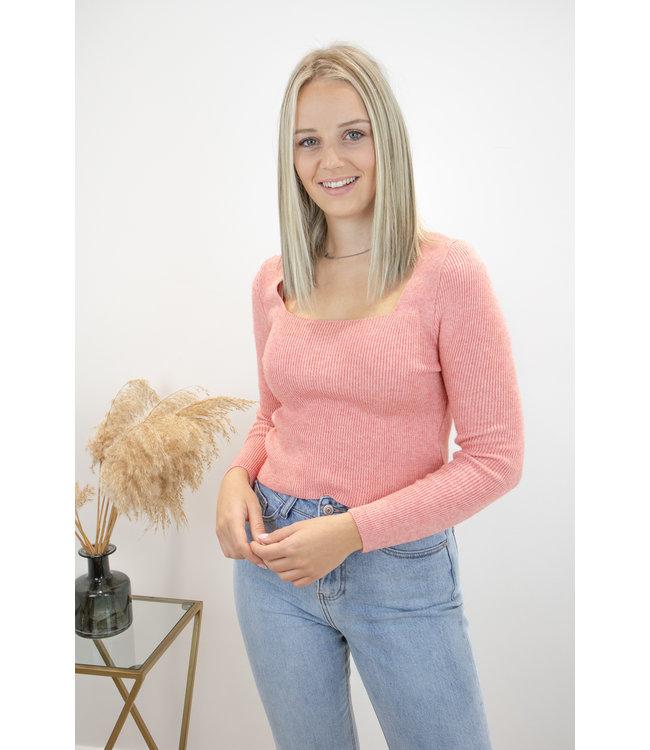 Felicia square shirt - peach coral