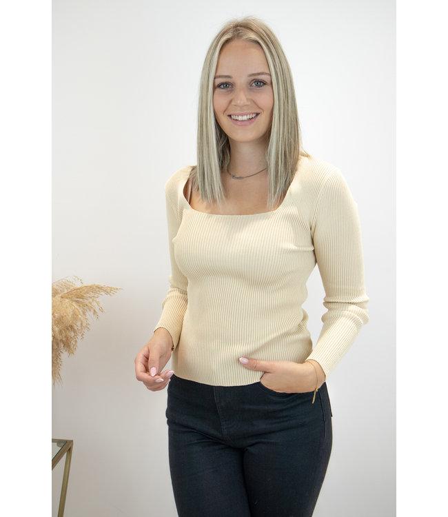 Square long sleeve shirt - ecru