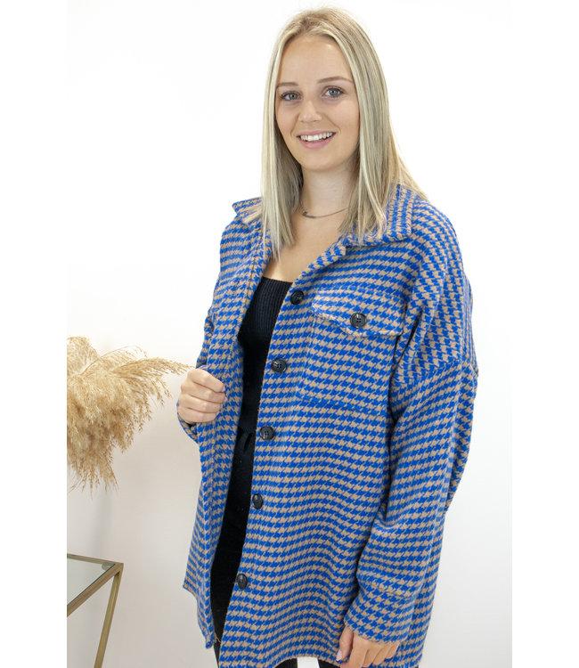 Pied de poule jacket - kobalt/camel