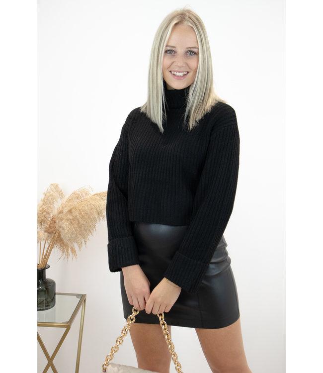 Col sweater short - black
