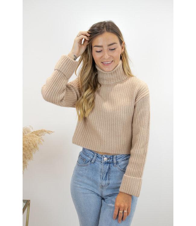 Col sweater short - camel