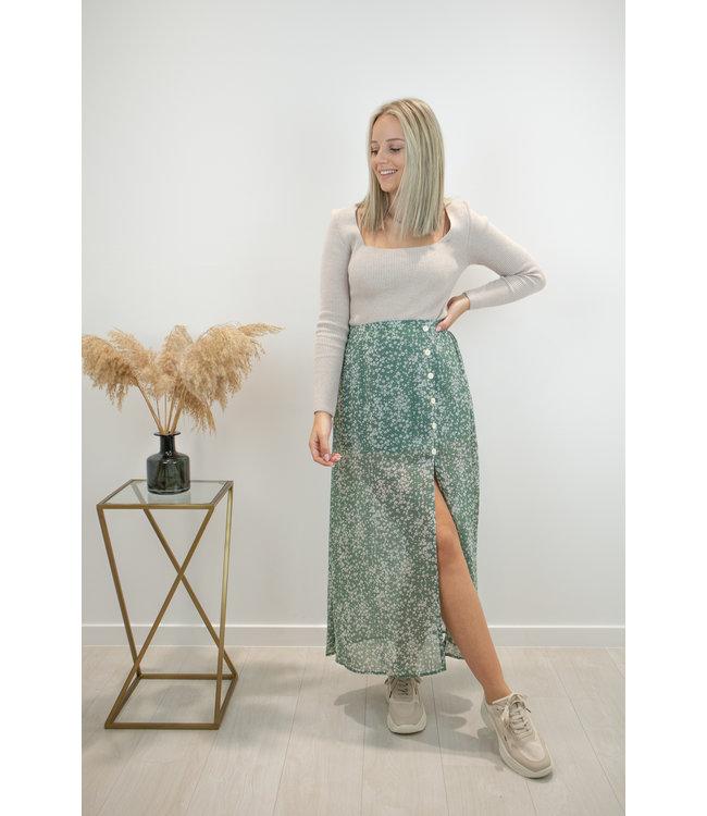 Bloom split skirt - green