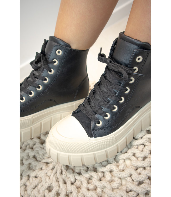 High leather sneakers - black