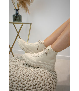 High leather sneakers - ecru