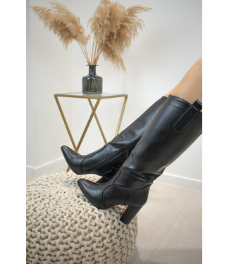 Leather heels boots - black
