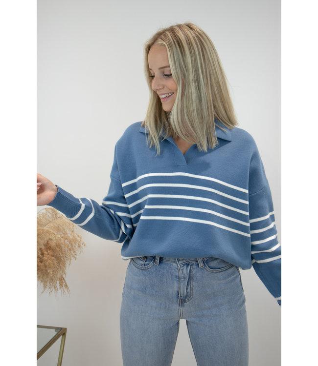 Hope stripe sweater - blue/white