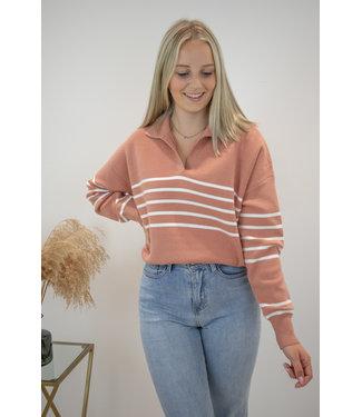 Hope stripe sweater - terracotta/white