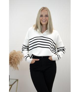 Hope stripe sweater - black/white