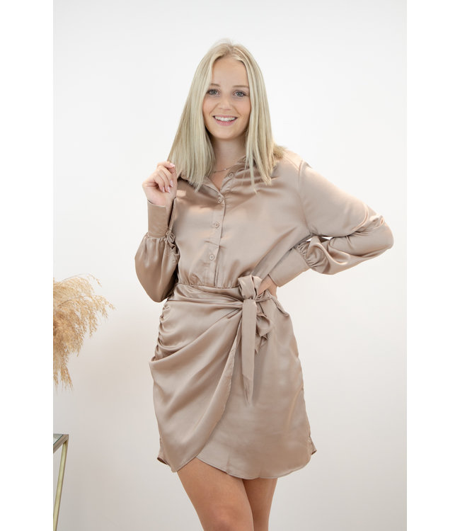 Silky wrap dress - taupe