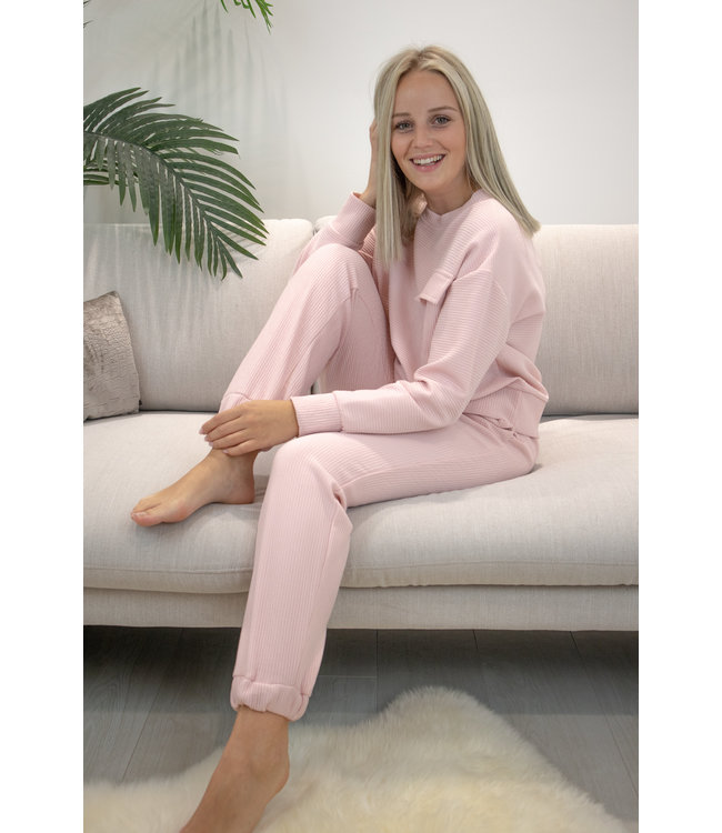 Sporty ribble jogging - pink